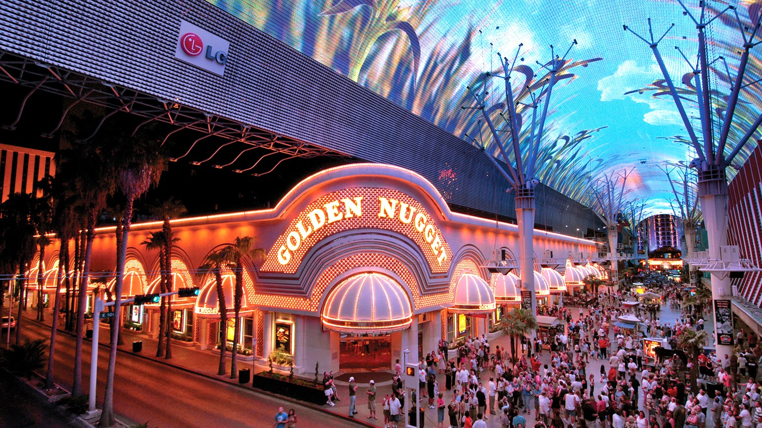 The Fremont Street Experience at night.