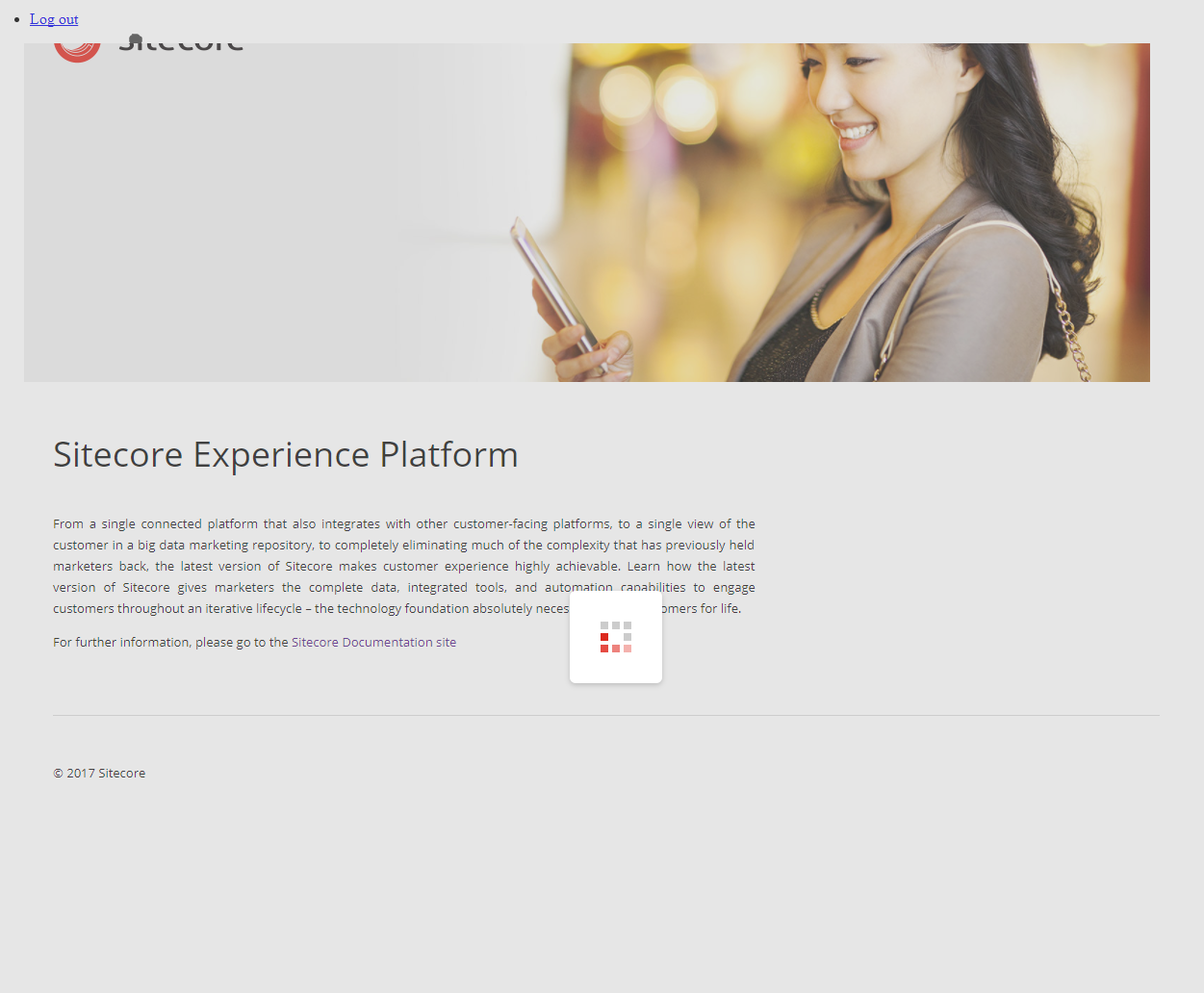 The Sitecore Experience Editor loading.