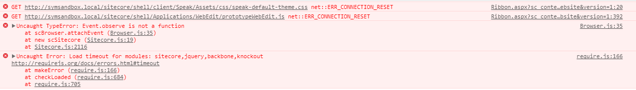 Chrome Dev Tools displaying a JavaScript timeout error message in the console.