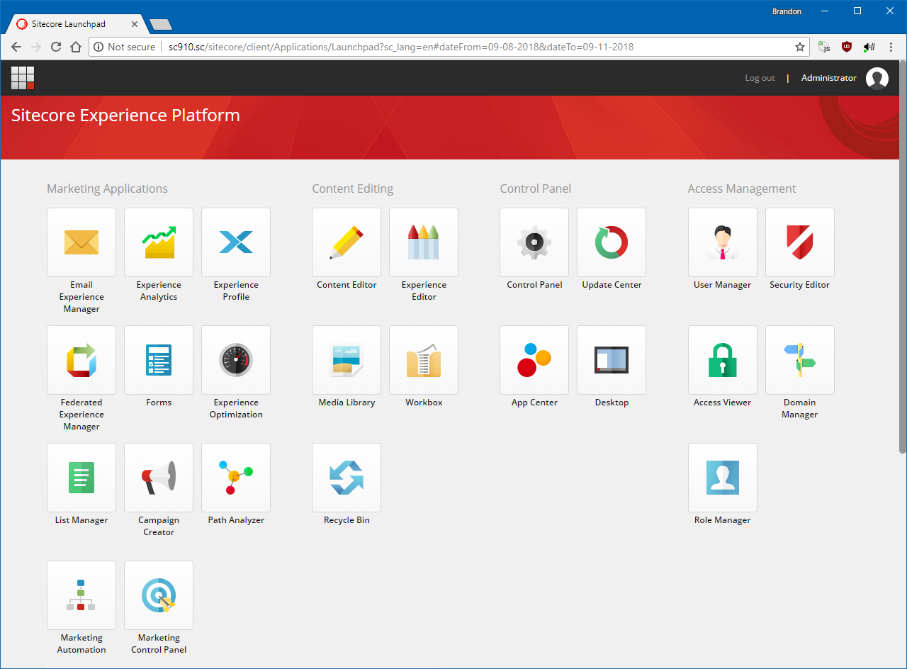 The Sitecore 9.1 Dashboard.