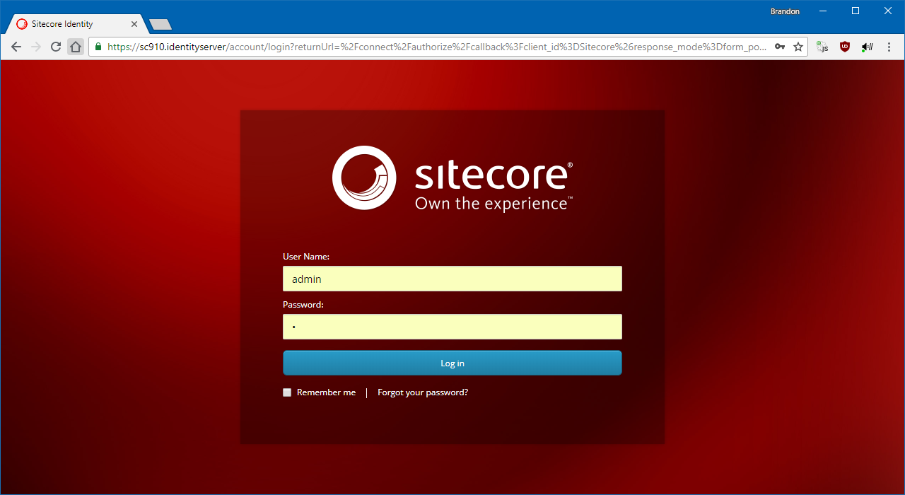 The new Identity Server-based login screen.